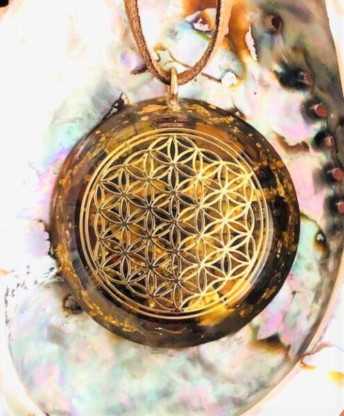 Edelsteen hanger Flower of Life Mystic Tiger vooraangezicht Bloom web