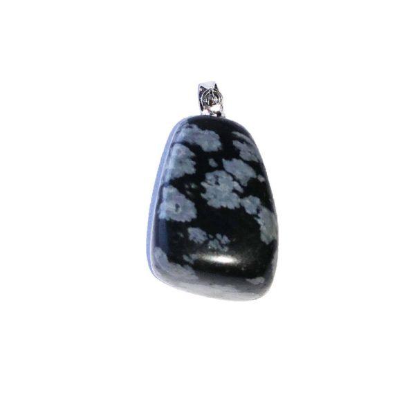 Edelsteen hanger Obsidiaan Sneeuwvlok Bloom Web