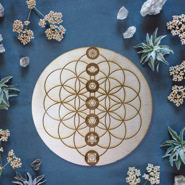 Flower of Life Chakra Crystal Grid Edelstenen