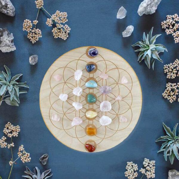 Flower of Life Chakra Crystal Grid Met Edelstenen