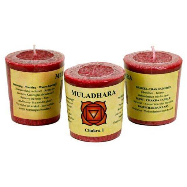 Geurkaarsje 1e chakra Muladhara Bloom web