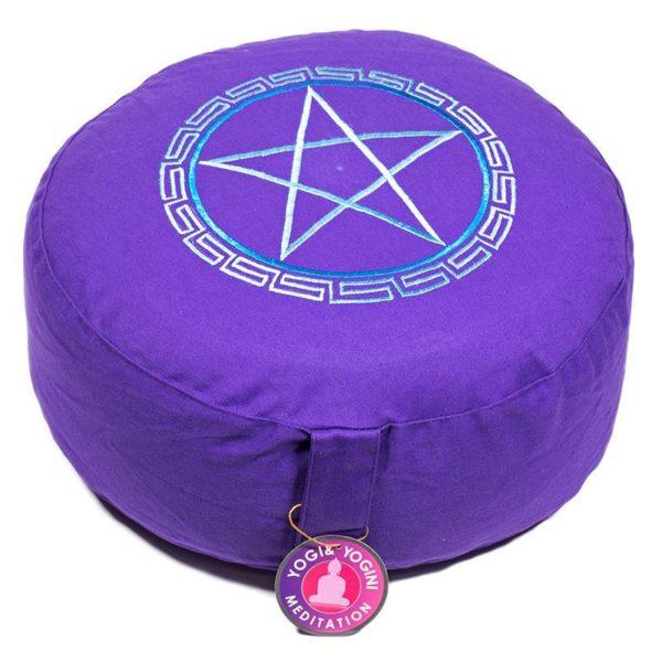 Meditatiekussen met afbeelding Pentagram Violet Bloom Web