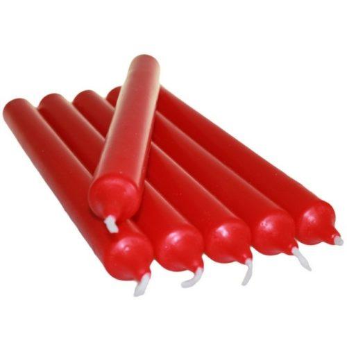 Gotische kaars rood 21 cm - 6 stuks